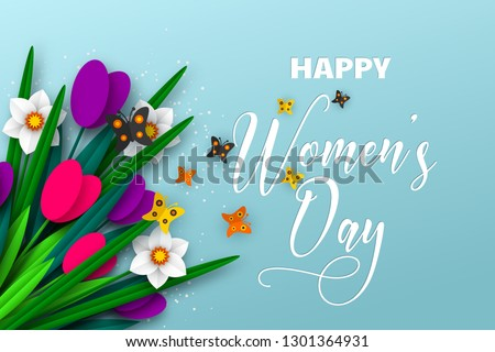 8 March greeting card for International Womens Day. 3d paper cut bouquet of spring flowers tulip and narcissus with butterfly, turquoise background. Vector illustration.