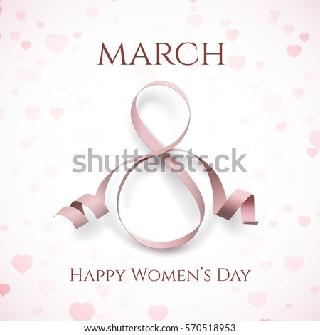 8 March greeting card template on pink background with hearts. International Women's day brochure, poster, flyer or invitation. Vector illustration.
