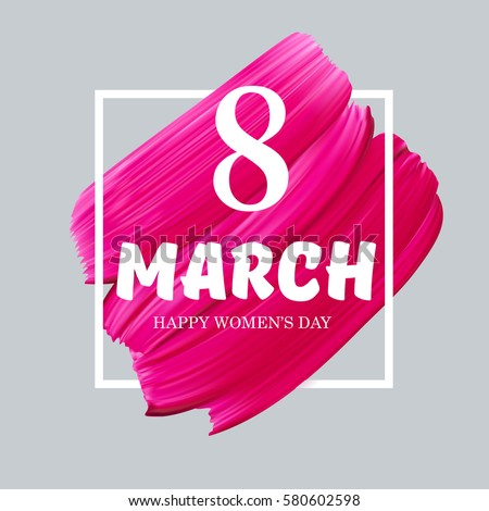 8 march happy international woman day on lipstick mark vector pink background in frame isolated design template greeting card or website abstract promotional banner