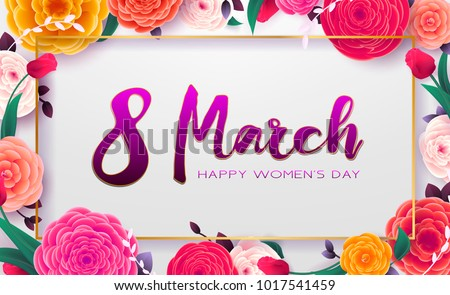 8 March Happy International Women`s Day, trendy background. Floral Greeting card, Paper cut flowers and leaves, holiday pattern. Paper art Design, drawn vector Template, Banner, decor.