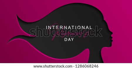 8 March Happy Women s Day banner. Beautiful Background with female  silhouette .Vector illustration for 5cb07e926