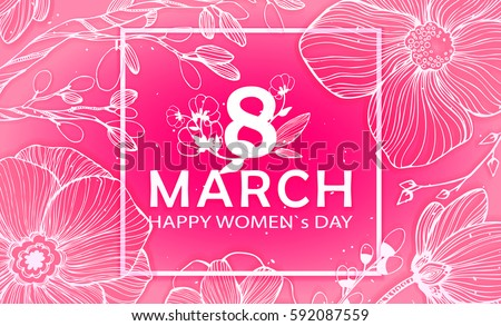 8 March Happy Women`s Day in square - spring vector background with Paper cut flower. Handdrawn Floral template, Greeting card. Holiday, Origami design, Trendy backdrop for Womens and Mother's Day #592087559