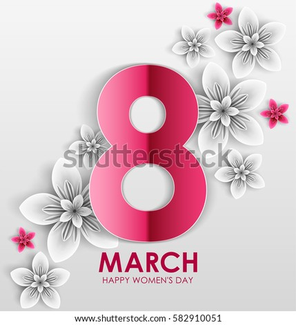 8 March holiday. Origami Greeting card with paper Flowers. International Happy Women's Day. Vector eps10 #582910051