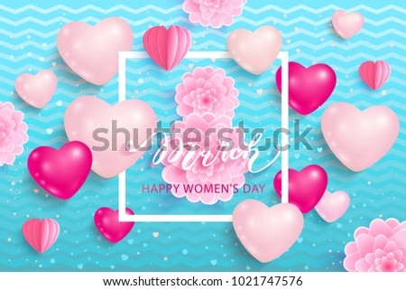 8 March International Women's Day. Greeting card on blue background. Vector illustration. #1021747576