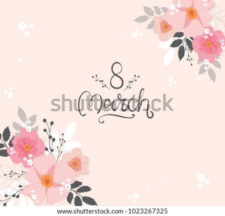 8 March International Women's Day typography vector design for greeting cards and poster. Hand lettering text isolated on pink background. Design template celebration. Vector illustration.