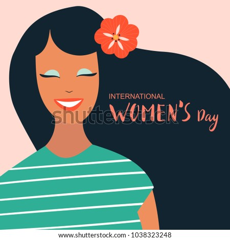 8 march, International Women's Day. Vector template with lettering design. Vector illustration.