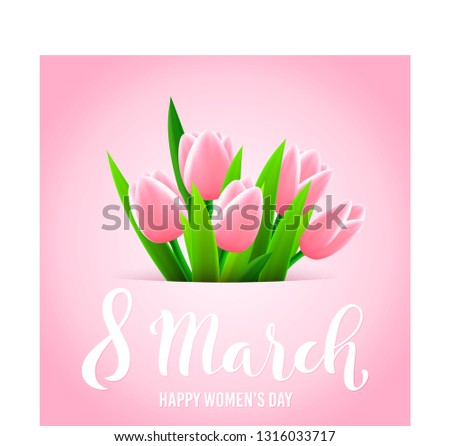 8 March International womens day greeting card. Template poster with handdrawn calligraphy. Vector illustration.