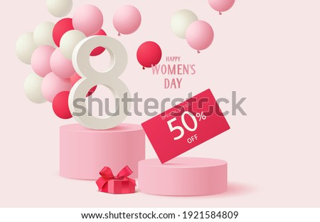 8 March. International Womens Day sales design template. Festive background with number 8, red and white balloon, gift box and discount price tag on pink round podium. Vector stock illustration.