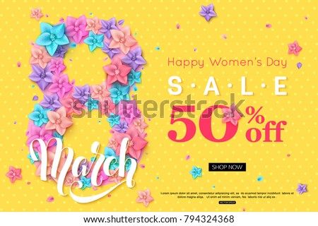8 March sale banner design for online shopping. Vector illustration