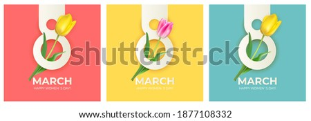 8 March set banner Background Design. Template  for advertising, web, social media and fashion ads. Poster, flyer, greeting card, header for website  Vector Illustration.