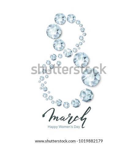 8 March vector greeting card, International Women's Day. Isolated number eight, 3d silver round diamonds, gems, jewels and hand drawn lettering. Holiday banner, poster, party invitation background.