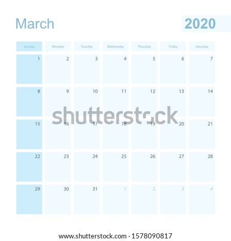 2020 March wall planner in blue color, week starts on Sunday. Calendar for March 2020 with day of previous and next month.
