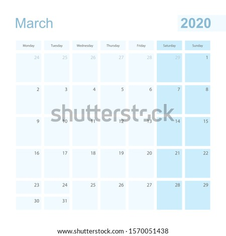 2020 March wall planner in blue pastel color, week starts on Monday. Calendar for March 2020 with blue square and with day of previous and next month.
