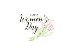 8 March Women Day vector greeting card. Lettering for Happy Woman's Day. Bouquet of blooming spring flowers. Tulip flower. Symbol for Women's Day, Mothers Day. Isolated tulips on white. Springtime