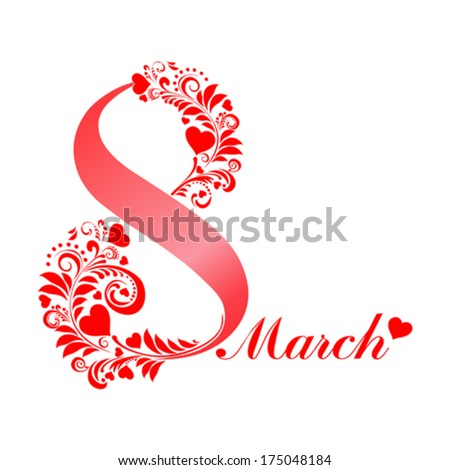 8 march.  Women's Day card with floral elements  isolated on White background. Vector illustration  - stock vector