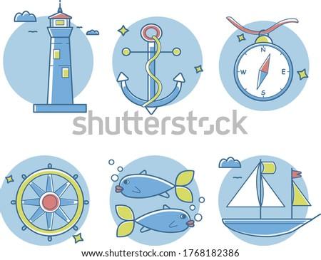 6 marine icons pack  lighthouse