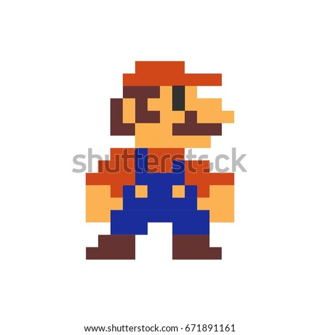 Mario pixel art printed on poster, Mario is a fictional character in the Mario video game franchise, created by Nintendo