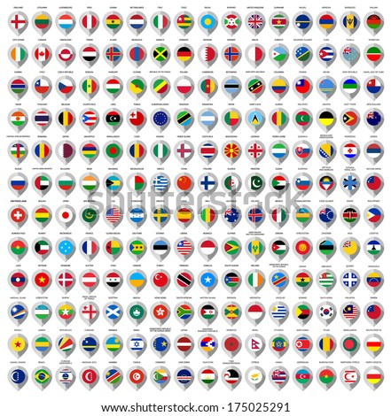 192 Markers from paper with flag for map, vector illustration #175025291