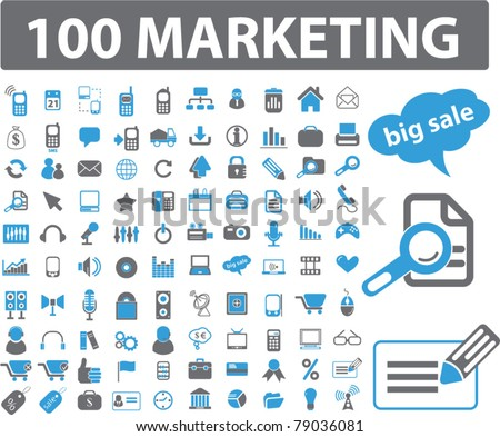 100 marketing icons, signs, vector