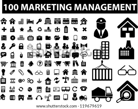 100 marketing management signs, icons set, vector - stock vector