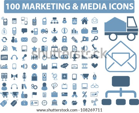 100 marketing & media icons set, vector