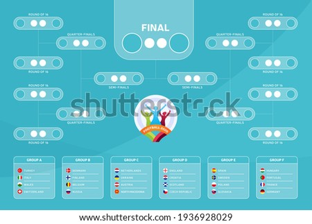2020 Match schedule, tournament brack, print, football results table, flags of European countries participating to the final tournament of european football championship euro 2020. vector illustration