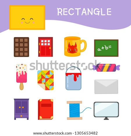 Materials for kids learning forms. A set of rectangle shaped objects