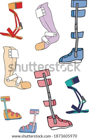 Materials for various lower limb orthoses Photo stock ©