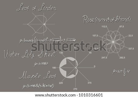 Mathematically simulated botanical objects (flowers and leaves), designed in the polar coordinate system. Plots, trigonometric equations. Allowance for schoolchildren and students.