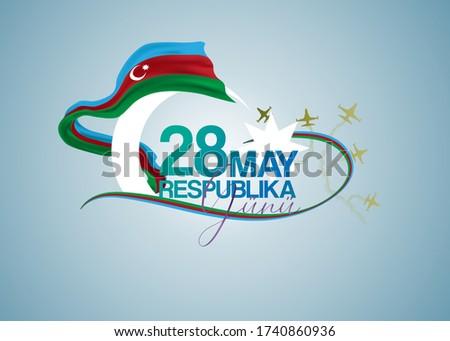 28 May Respublika day. Translation from Azerbaijan: 28 May Republic Day of Azerbaijan. Azerbaijan flag