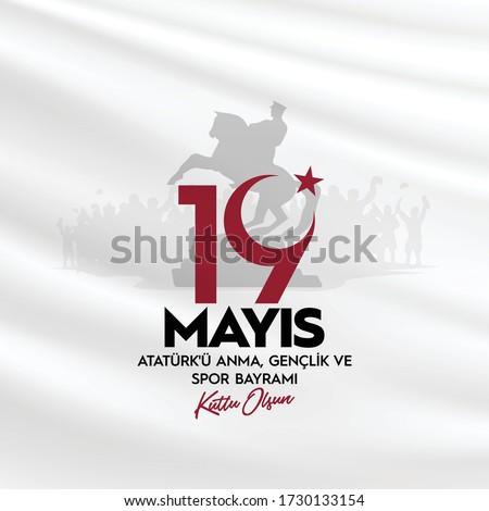 19 mayıs Atatürk'ü Anma, Gençlik ve Spor Bayramı , translation: 19 may Commemoration of Ataturk, Youth and Sports Day, graphic design to the Turkish holiday, children logo. Stok fotoğraf ©