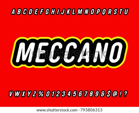 Meccano Sans Serif Rounded Simple Alphabet Retro Typography Vector Illustration
