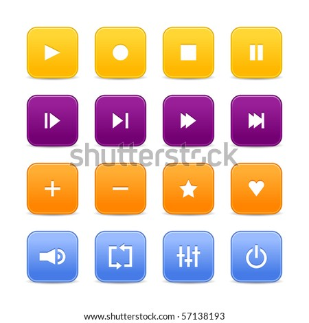 16 media audio video control web 2.0 buttons. Colored rounded square shapes with shadow on white background