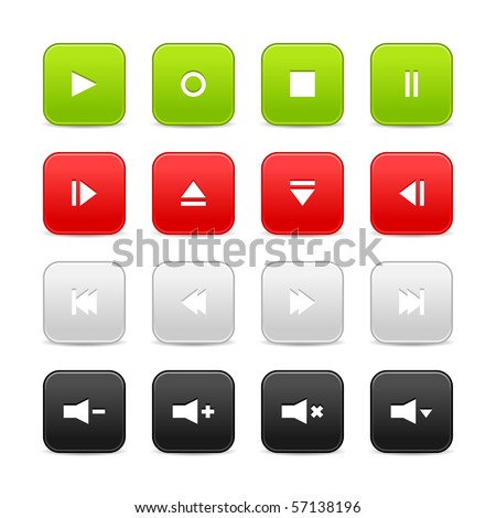 16 media audio video control web 2.0 buttons. Colorful rounded square shapes with shadow on white background