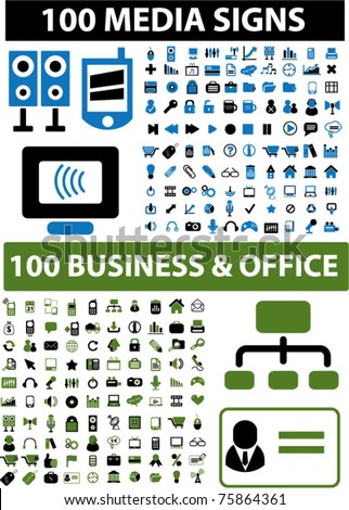 200 media & business icons, signs, vector