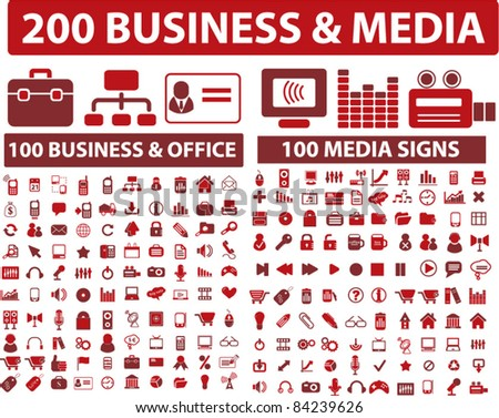 200 media & business icons, signs, vector illustrations set