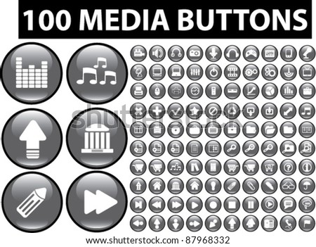 100 media buttons, icons, signs, vector