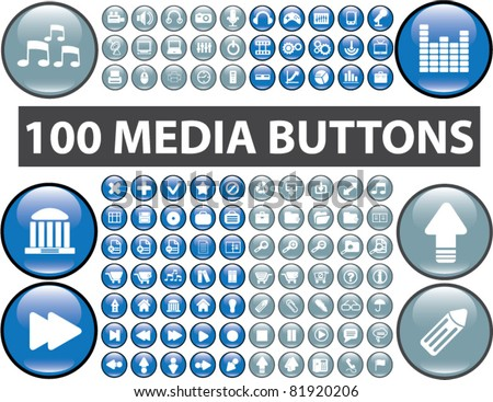 Stock Photo 100 media buttons, icons, signs, vector illustrations