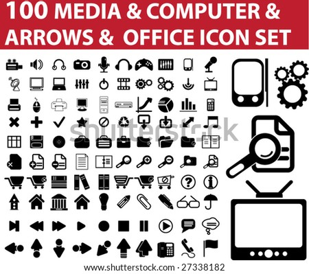 100 media & computer & arrows & office icon vector set