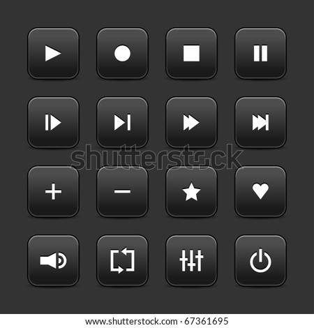 16 media control web 2.0 buttons. Black rounded square with shadow on gray background