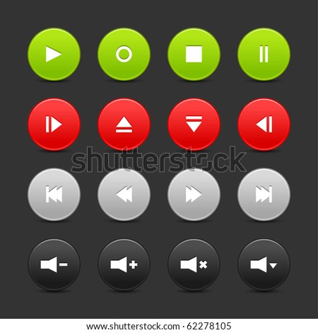 16 media control web 2.0 buttons. Colored round shapes with reflection on black background - stock vector