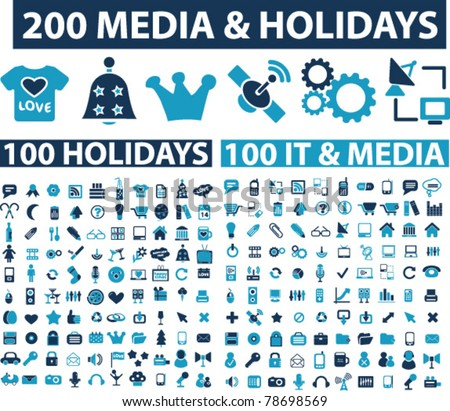 200 media & holidays icons, signs, vector
