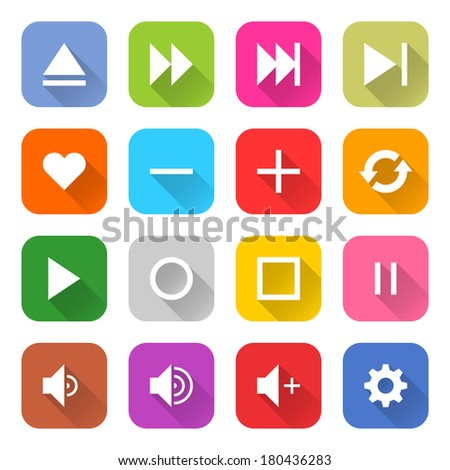 16 media icon set 06 (white sign on color). Rounded square web button on white background. Simple minimalistic mono flat long shadow style. Vector illustration internet design graphic element 10 eps