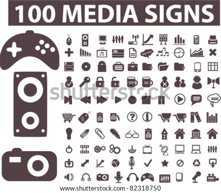 100 media icons, signs, vector illustrations