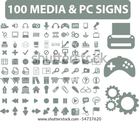 100 media & pc signs. vector