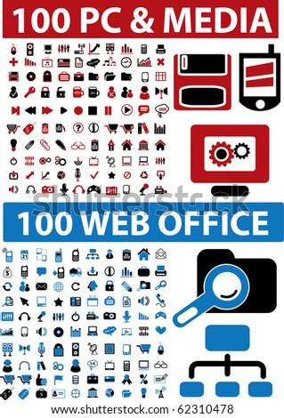 200 media & pc & web office signs. vector - stock vector