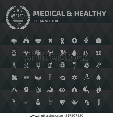 Medical and healthy care icon set, clean vector