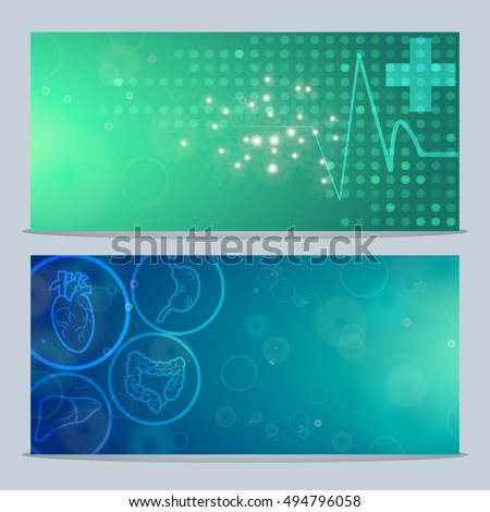 2 Medical Banners,Body System Anatomical Conception,Vector Illustration.Human Organs blue flare effect background,Pulse Medial Cross green dotted background.Body System Human Anatomical Banners.