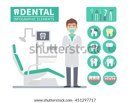Medical dental infographic. Dentist in his office with instruments. Vector illustrations and icons.