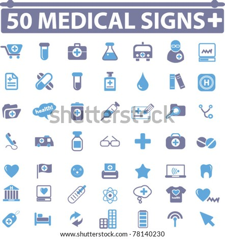 50 medical & health signs, vector